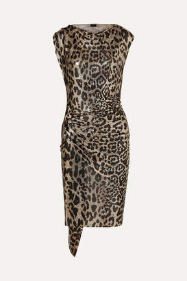 Paco Rabanne Gathered Leopard-print Chainmail Dress - Leopard print
