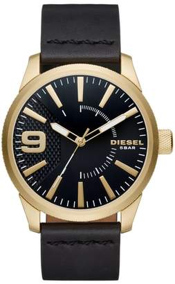 Diesel R) Rasp Leather Strap Watch, 46mm