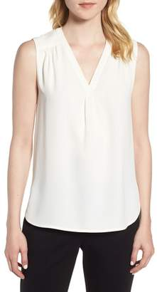 Anne Klein Sleeveless Split Neck Crepe Top
