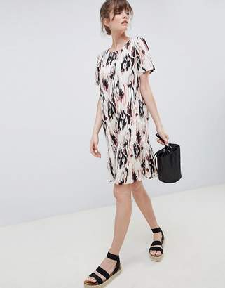 Ichi Printed Drop Hem Dress