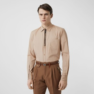 Burberry Classic Fit Zip Detail Cotton Twill Shirt