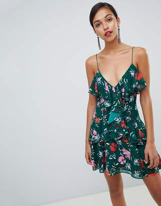 C/Meo Collective Floral Ruffle Mini Dress