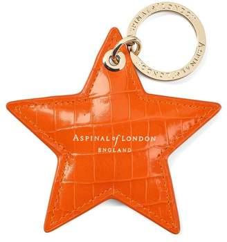 Aspinal of London Star Keyring In Deep Shine Amber Small Croc