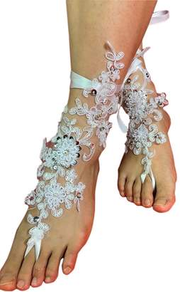 Fenghuavip Women's Lace Barefoot Sandals for Beach Wedding Bridal Shoes with Sequins