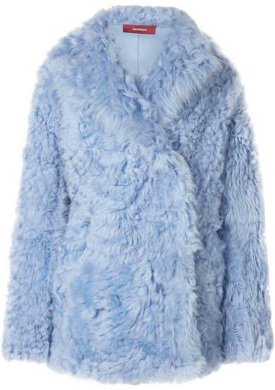 Sies Marjan Shearling Coat - Light blue