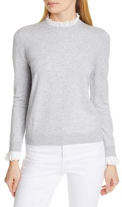 Ted Baker Kaytiie Broderie Lace Collar & Cuff Sweater