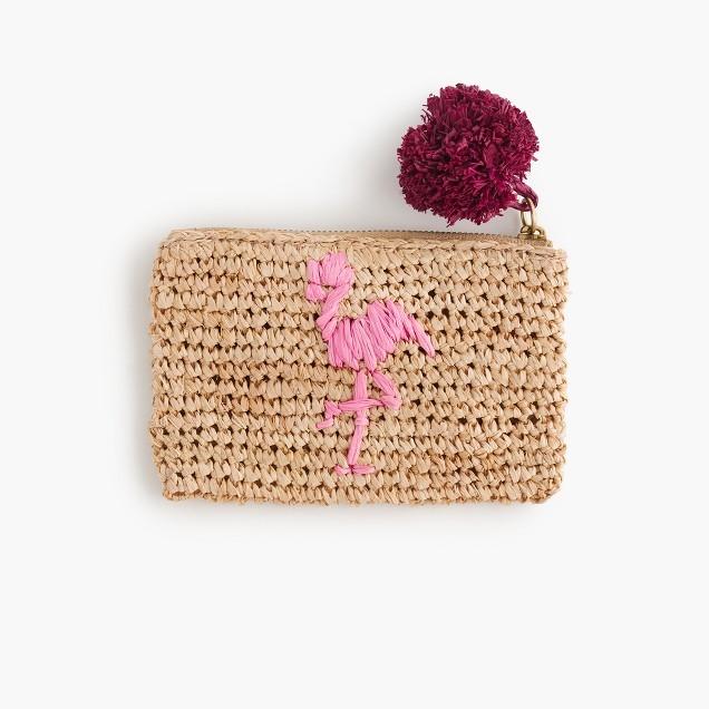 Small flamingo straw pouch