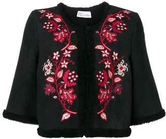 RED Valentino cropped floral embroidered jacket
