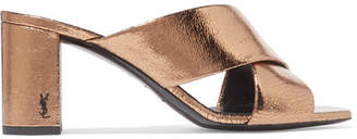 Loulou Metallic Cracked-leather Mules - Bronze