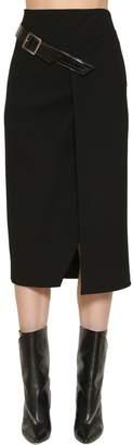Givenchy Crepe Midi Skirt W/ Faux Patent Belt