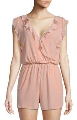 BCBGeneration Sleeveless Ruffle Surplice Romper