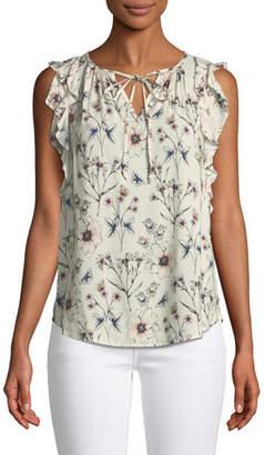 Velvet Marisol Flutter-Sleeve Floral Top