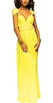 Pim Sexyshine Women's Infinity Backless Gown Dress Multi-Way Wrap Halter Cocktail Dress Bandage Bridesmaid Long Dress (BL,L)