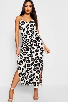 boohoo Animal Print Cowl Back Slip Dress
