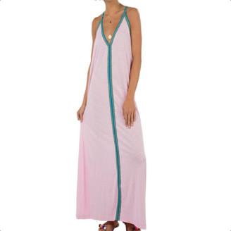 Pitusa Pale Pink With Blue Braid Pima Sundress - O/S - Pink/Blue