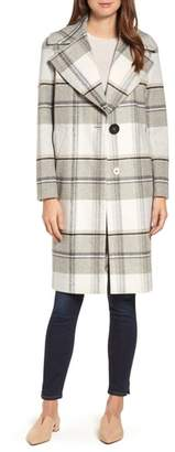 Kensie Plaid Long Coat