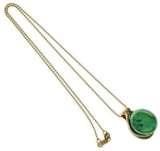 14K Yellow Gold Hand Blown Murano Glass Pendant Necklace