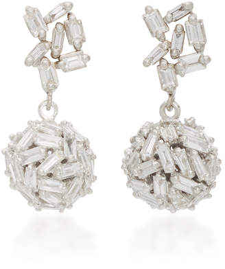 Suzanne Kalan One Of A Kind 18K White Gold Diamond Earrings