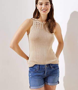 LOFT Open Knit Yoke Sleeveless Sweater