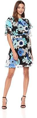 Calvin Klein Women's Floral Chiffon Ruffle Sleeve with Self Sash Dress