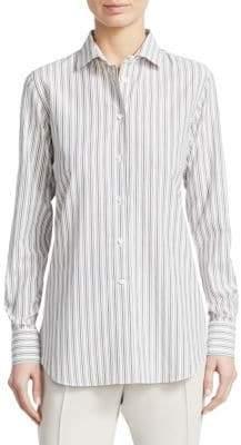 Loro Piana Camicie Kara Silk Blend Pinstripe Shirt