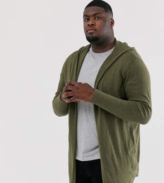 Asos Design DESIGN Plus hooded open front cardigan with curved hem in khaki
