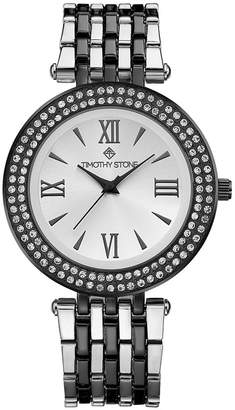Timothy Stone Women's 'Burst' Roman Numeral Crystal Two Tone Boyfriend Bracelet Watch