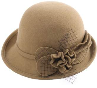 a91dbb11bf242f Siggi 100% Wool Felt Cloche Hat for Women 1920s Vintage Derby Tea Party Bucket  Bowler