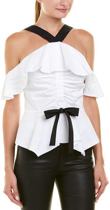 Derek Lam 10 Crosby Off-The-Shoulder Halter Top