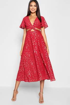 boohoo Star Print Cut Out Skater Dress