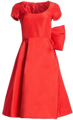 Oscar de la Renta Silk Back Bow Cap-Sleeve Dress