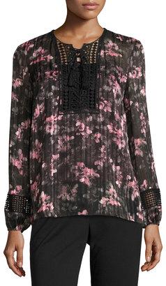 T Tahari Linda Floral Lace-Trim Blouse, Black $95 thestylecure.com