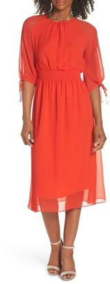 Maggy London Smocked Chiffon Dress