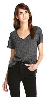 V-Neck Linen/Poly Tee with Pocket - Mossimo $12 thestylecure.com