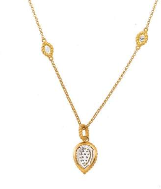 Roberto Coin New Barocco 18K Yellow Gold 0.60ct Pear Shape Diamond Pendant on Diamond Station Chain Necklace