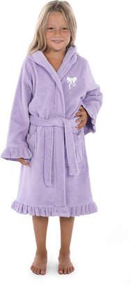 Asstd National Brand Linum Kids 100% Turkish Cotton Hooded Terry Bathrobe With Ruffle - Bow Design