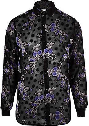 River Island Black floral print long sleeve shirt