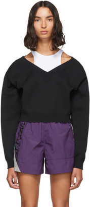 Alexander Wang Black Cropped Bi-Layer V-Neck Sweater