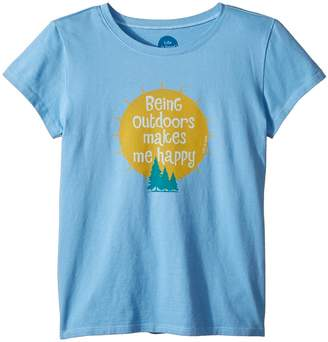 Life is Good Outdoors Makes me Happy Crusher T-Shirt Girl's T Shirt