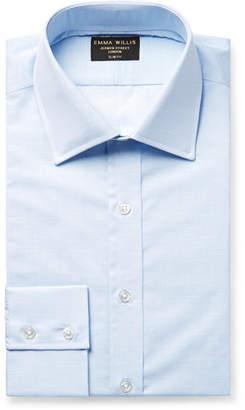 Light-Blue Slim-Fit Slub Cotton Shirt