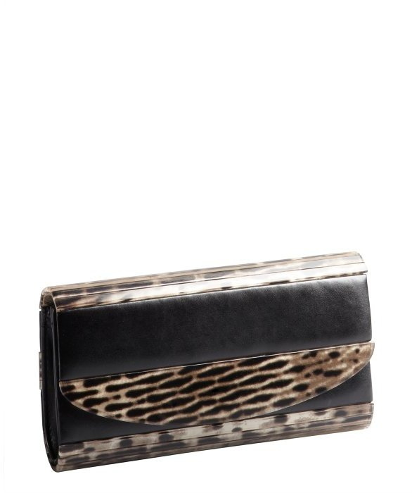 Sondra Roberts black animal print resin foldover clutch