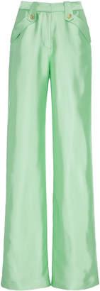 Brandon Maxwell High-Rise Wide-Leg Liquid Satin Pants