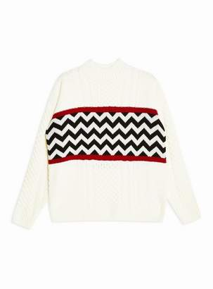 Topman Mens Cream Zig Zag Panel Sweater