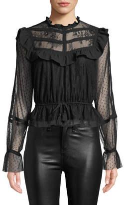 Rebecca Minkoff Tabitha Lace Ruffle Long-Sleeve Top
