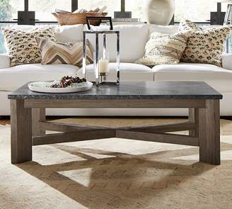 At Pottery Barn · Pottery Barn Fulton Stone And Wood Coffee Table