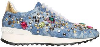Limit.ed Embellished Denim Sneakers $1,014 thestylecure.com