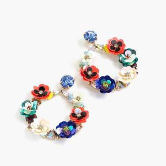 J.Crew Crystal and sequin wreath earrings