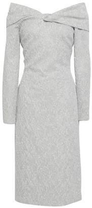 Oscar de la Renta Off-the-shoulder Knotted Jacquard Midi Dress