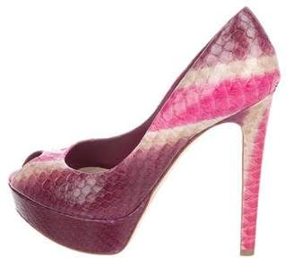 Christian Dior Snakeskin Peep-Toe Pumps