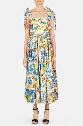 Dolce & Gabbana Dolce Gabbana Square Neck Printed Dress - Maiolica